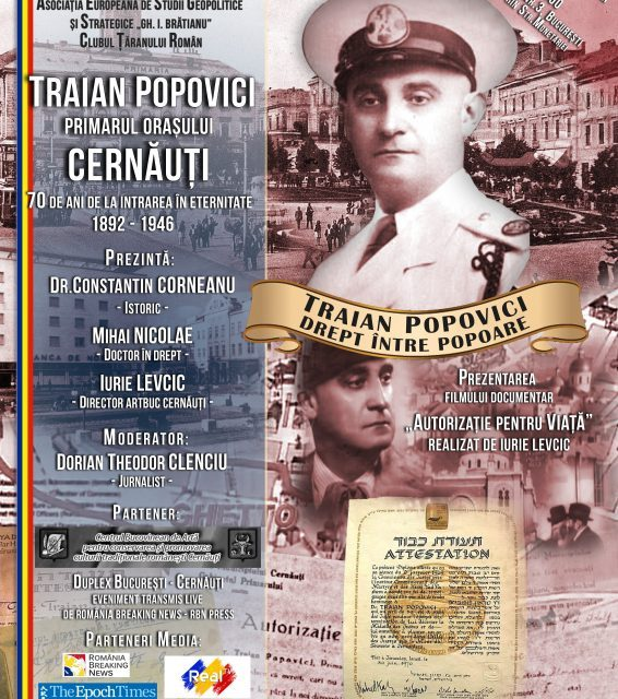 Traian Popovici, primarul orașului Cernăuți. 70 de ani de la intrarea în eternitate (1892 – 1946)