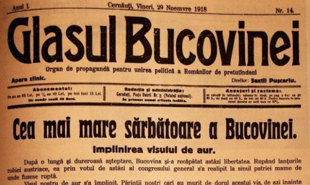 Unirea Bucovinei cu România, adevăruri istorice și reflecții contemporane
